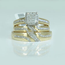 Solid Real 10K Yellow Gold Trio Set .33CT of Diamonds Micro Pave Square Cube