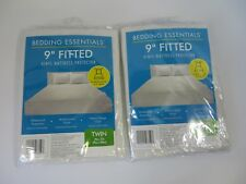 "Bedding Essentials 9"" Fitted Mattress Protector Cover Twins Size Lot of 2 #7558"