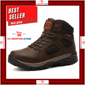 Men's Waterproof Leather Winter Work Hiking Boots Outdoor Warm Fur Lining Shoes