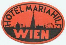 WIEN VIENNA AUSTRIA HOTEL MARIAHILF OLD LUGGAGE BAGGAGE LABEL