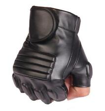 Mens Leather Fingerless Gloves Military Police Mittens Driving Motorcycle Biker