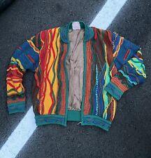 Vintage COOGI 3D Zipper Multicolor Jacket Cardigan Sweater Size SMALL