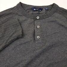 Ben Sherman Mens Long Sleeve Henley T-Shirt Size Small Solid Gray