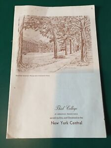 New York Central 1950's dining service menu, Thiel College Greenville, PA