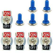 5 X Heavy Duty 20A 125V 2 Terminal ON/OFF Toggle Switch Waterproof Blue Boot Cap
