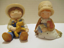 Vintage Holly Hobbie Miniature Collection Boy & Puppy, Girl & Raggedy Ann Doll