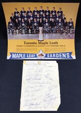 1961 Stanley Cup Toronto Maple Leafs Team Signed Paper 18 Auto Tim Horton JSA