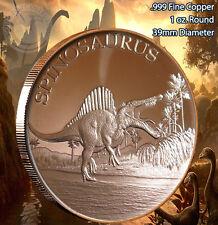 """""""Spinosaurus"""" Dinosaur Round 1 oz .999 Copper Round part of Dinosaur Series"""