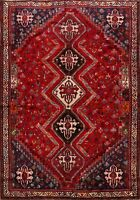 Excellent Vintage Tribal Abadeh Handmade Geometric Area Rug 7x10 Oriental Carpet