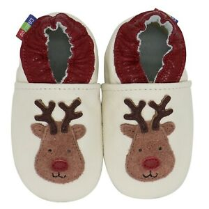 carozoo red nose reindeer 6-12m soft leather infant baby shoes