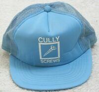 Cully Screws Blue White Vintage Baseball Hat Adult Mens Cap Snapback Polyester