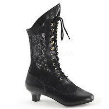 PLEASER FUNTASMA DAME-115 PU LACE VICTORIAN FANCY DRESS ANKLE BOOTS UK 3-9
