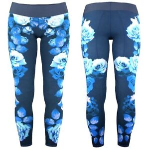Adidas Girl Fitness 7/8 Tight Sports Leggings Training Trousers Flowers Blue