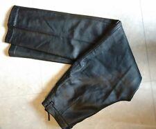 d832c7b97c7 Pantalon Laura Clement coupe droite cuir agneau plongé veritable noir Neuf  t 36