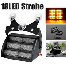 18 LED 12V Strobe Flashing Lights Amber  Emergency Warning  Dash WINDSHIELD