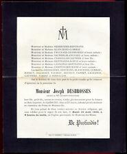 faire-part de décès Mr. Joseph Desbrosses  mort pour la France . 1915