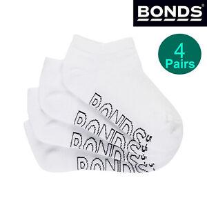 Bonds 4 Pack Kids Boys Girls Logo Light Trainer School White Low Cut Ankle Socks