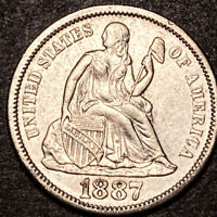1887 Seated Liberty Silver Dime 10c High Grade Details Collectible Type Coin