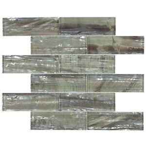 Modern Subway Green Brown Glossy Glass Backsplash Tile Kitchen Bathroom MTO0006