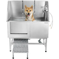 Pro Stainless Steel Pet Dog Cat Wash Shower Grooming Bath Tub 127cm