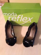 Moda Women's Shoes Reflex Arielle Black With Chunky Heels Open Toe Size 6.5 NWOB