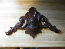 Hand carved wooden headboard centerpiece ornate architectural crafted goddess