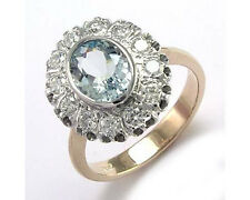 vintage european style Aquamarine and Diamond Ring in 14k Rose and white gold