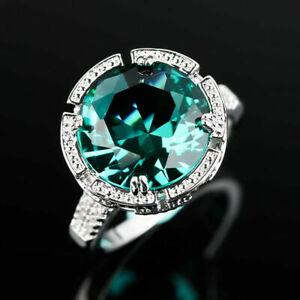 Fashion 925 Silver Rings Women Green Emerald Wedding Ring Jewelry Gift Size 9