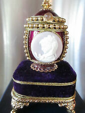 "Purple Authentic Pigeon Egg cameo face "" inspiring "" musical jewel box 40516"