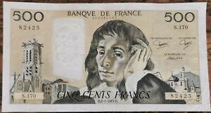 Billet 500 francs PASCAL 6 - 1 - 1983 FRANCE S.170