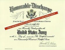Honorable Discharge Replacement Certificate Army, Navy, Air Force, Marine Corps
