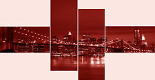 Large Extra Long 4 Panel Canvas Picture Red New York City Bridge Wall Art Prints