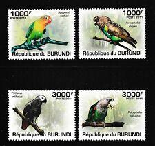 Parrots mnh set of 4 stamps 2011 Burundi #872-5 birds
