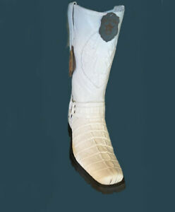 Men's Los Altos Genuine Caiman Tail Or Ostrich White Motorcycle Boots Handmade