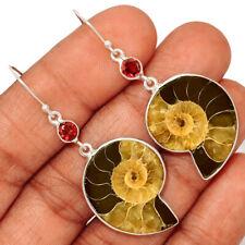 """""""Fossil"""" Ammonite - Madagascar & Garnet 925 Silver Earring Jewelry AE148910"""