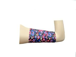 PICC line cover Freestyle libre sleeve Lycra armband diabetes chemo black peony