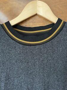 TRF Zara Grey Dress Size M 12 Mustard Neckline