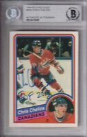 "BECKETT 1984-85 O-PEE-CHEE CHRIS CHELIOS ""HOF 2013"" SIGNED ROOKIE CARD 13533 OPC"