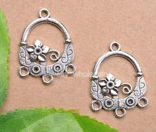 10pcs Tibetan Silver Charm Flowers Earring Connectors 30X23mm Jewelry Making