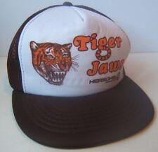 Vintage Tiger Jaws Herschel Farm Hat Black White Snapback Trucker Cap