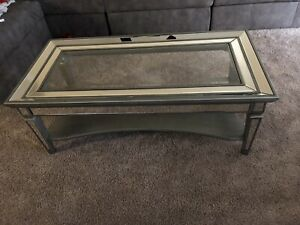 coffee table Grey Wood And Glass