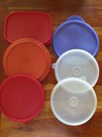 Lot de 6 couvercles ancien vintage Tupperware rond 16 18 cm rectangle