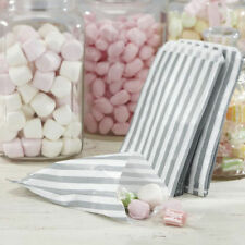 """500 X 5""""x7"""" Grey Candy Stripe Paper Bags Sweet Favour Shop Party Sweets Wedding"""