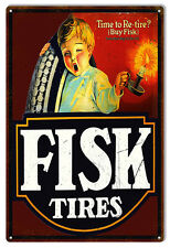 Aged Looking Re Tire Fisk Tires Gas Station Reproduction Metal Sign