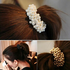 Fashion Women Lady Pearls Beads Hair Band Rope Scrunchie Ponytail Holder Elastic