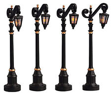 Lemax Decoration, Colonial Street Lamps, Christmas Decorating, Lighted Set of 4