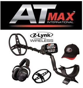 "Garrett Factory AT MAX Metal Detector 8.5x11"" Coil & Wireless Headphones"