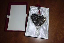 THINGS REMEMBERED SILVER COLORED MEMORY HANGING HEART NEW IN RED VELVET BOX