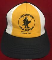 Vintage 1970's Yellowknife Gold Dusters Hockey Snapback Mesh Black Trucker Hat
