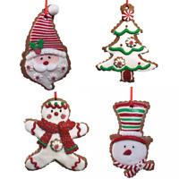 Gingerbread Ornaments Snowman Santa Boy Tree Set of 4 Kurt Adler New Peppermint